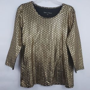 Black and Gold 3/4 Sleeve Metallic Blouse L